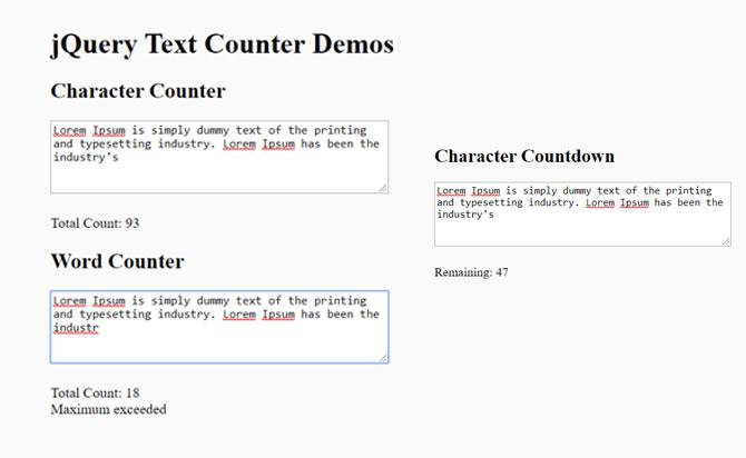 Highly Customizable CharacterWord Counter For jQuery - Text Counter