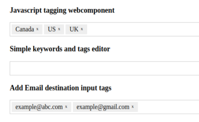 Javascript Vanilla Tagging and Tokening Plugin