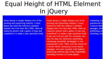 Equal Height of HTML Elelment In jQuery